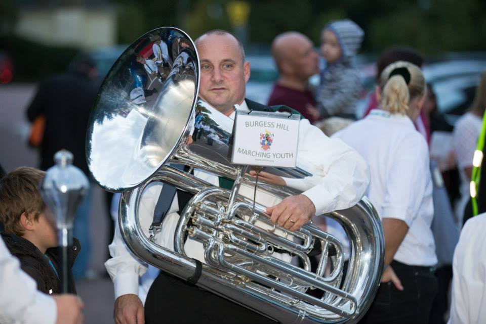 Steve, our tuba player Burgess Hill Bonfire 2013