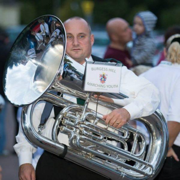 Steve, our tuba player Burgess Hill Bonfire 2013